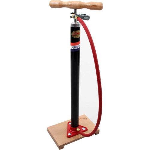 Jumbo fietspomp met plank en slangDe bekende Jumbo plankpomp voor het oppompen van banden met hollands